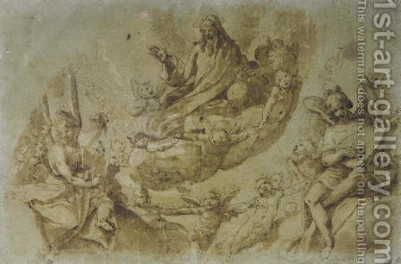 God the Father surrounded by angels and cherubim by (after) Da Reggio Raffaellino - Reproduction Oil Painting