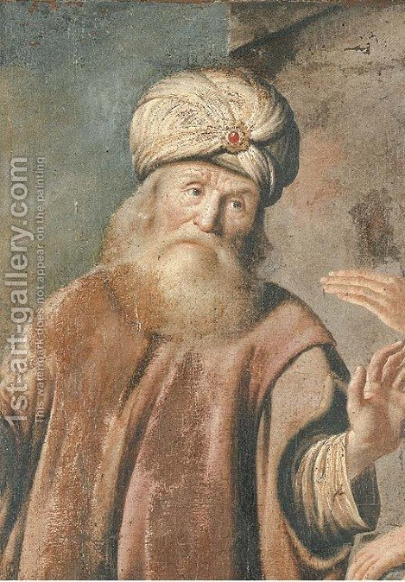 An elder from the Old Testament by (after) Rembrandt Van Rijn - Reproduction Oil Painting