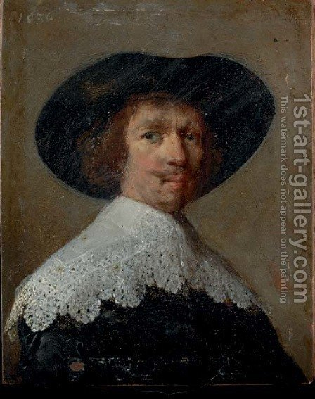 Portrait of a gentleman 2 by (after) Rembrandt Van Rijn - Reproduction Oil Painting