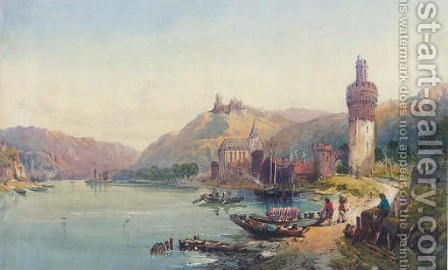On the Rhine by (after) Richard Principal Leitch - Reproduction Oil Painting
