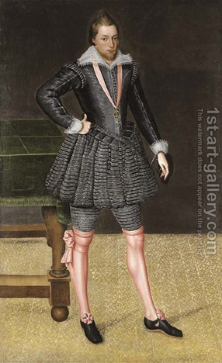 Portrait of Sir Charles Stanhope by (after) Robert Peake - Reproduction Oil Painting