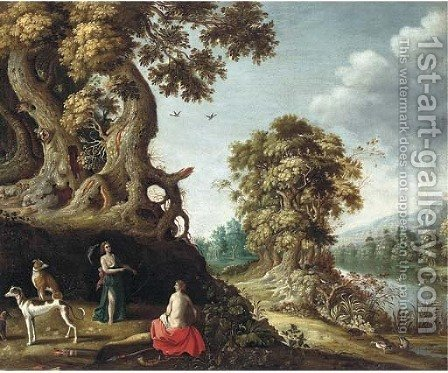 A wooded river landscape with Jupiter and Callisto by (after) Roelandt Jacobsz Savery - Reproduction Oil Painting