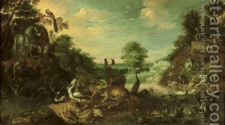 The Garden of Eden with a stag by (after) Roelandt Jacobsz Savery - Reproduction Oil Painting