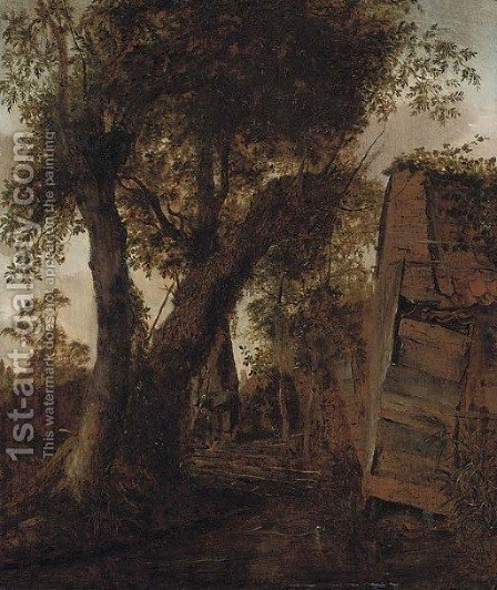 A wooded landscape with a peasant outside a barn by (after) Roelof Van Vries - Reproduction Oil Painting