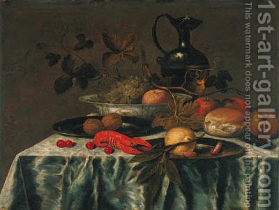 Grapes, vine leaves and an orange in a Wanli 'kraak' porselein dish by (after) Roelof Koets - Reproduction Oil Painting
