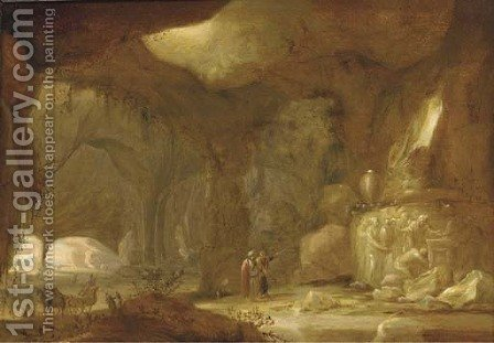 A natural grotto with figures approaching a shrine by (after) Rombout Van Troyen - Reproduction Oil Painting