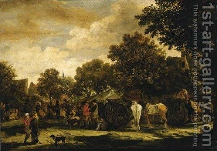 A horse fair in a village by (after) Salomon Rombouts - Reproduction Oil Painting