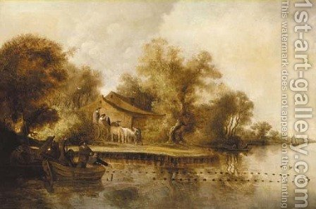 A river landscape with fishermen pulling in their catch by (after) Salomon Van Ruysdael - Reproduction Oil Painting