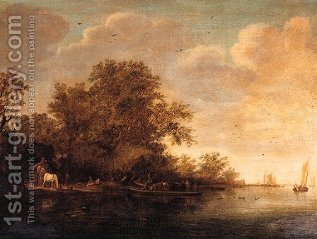 Travellers on a horse and a wagon by a landing stage by a river, peasants and cattle on a ferry nearby, on a cloudy day by (after) Salomon Van Ruysdael - Reproduction Oil Painting