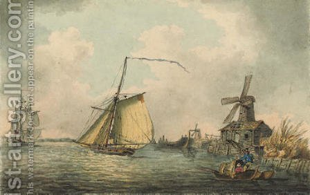 An armed cutter running up the estuary by (after) Samuel Atkins - Reproduction Oil Painting