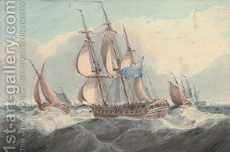 A frigate in a busy shipping lane by (after) Samuel Owen - Reproduction Oil Painting