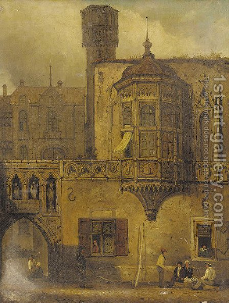 Figures outside a continental courtyard by (after) Samuel Prout - Reproduction Oil Painting