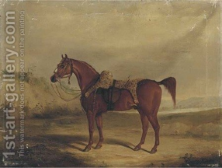A chestnut horse saddled by (after) Samuel Spode - Reproduction Oil Painting