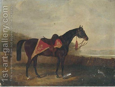 A horse with ornate sadle cloth by (after) Samuel Spode - Reproduction Oil Painting