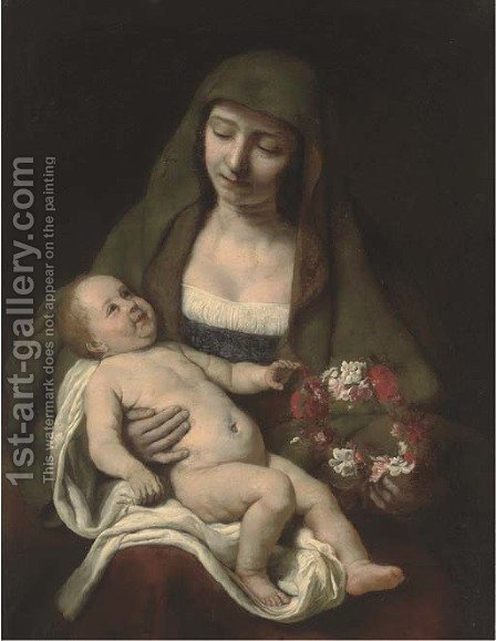 The Virgin and Child with a floral wreath by (after) Samuel Van Hoogstraten - Reproduction Oil Painting