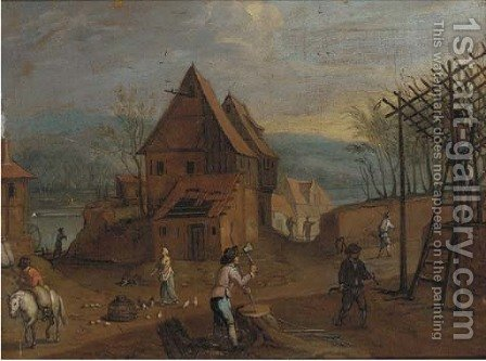 A village landscape with figures by (after) Sebastian Vrancx - Reproduction Oil Painting