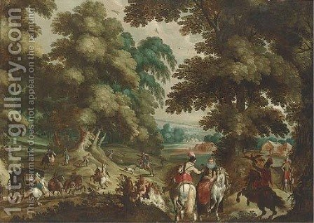 A wooded landscape with a hawking party and elegant company in a carriage by (after) Sebastian Vrancx - Reproduction Oil Painting