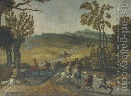 A wooded landscape with bandits ambushing travellers by (after) Sebastian Vrancx - Reproduction Oil Painting