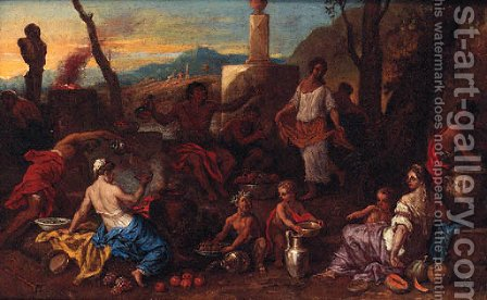 A Bacchanal by (after) Sebastien Bourdon - Reproduction Oil Painting