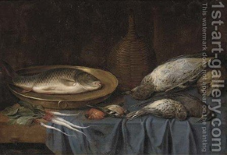 Dead birds, a fish on a copper platter, a bottle of wine and root vegetables on a draped table by (after) Sebastien Stoskopff - Reproduction Oil Painting
