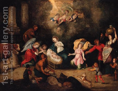 The Adoration of the Shepherds by (after) Simon De Vos - Reproduction Oil Painting