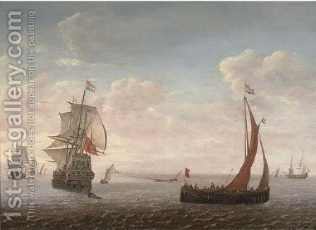 Dutch men-o'-war and other shipping in a calm by (after) Simon De Vlieger - Reproduction Oil Painting