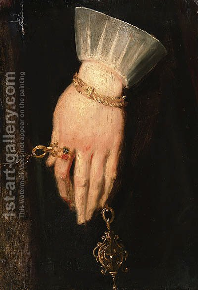 A lady's hand holding a chain, a fragment by (after) Dyck, Sir Anthony van - Reproduction Oil Painting
