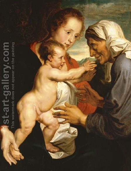 The Virgin and Child with Saint Anne by (after) Dyck, Sir Anthony van - Reproduction Oil Painting