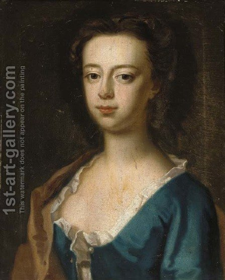 Portrait of a lady, bust-length, in a blue dress and brown wrap by (after) Kneller, Sir Godfrey - Reproduction Oil Painting