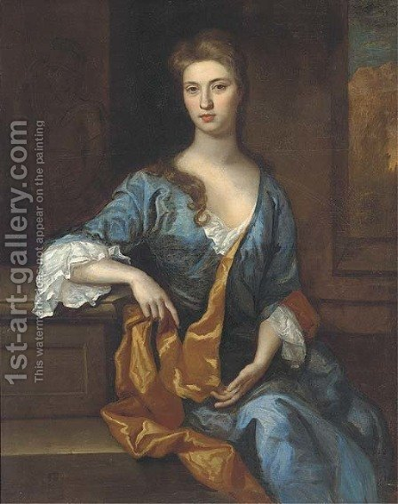 Portrait of a lady, seated three-quarter-length, in a blue dress and gold wrap, resting her arm on a plinth, a landscape beyond by (after) Kneller, Sir Godfrey - Reproduction Oil Painting