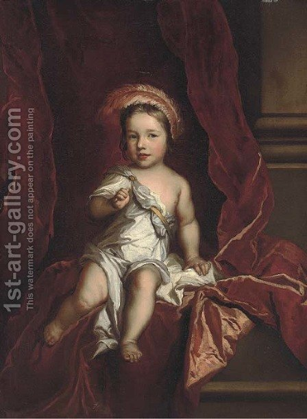 Portrait of a young boy, seated full-length, wearing a white tunic, a red curtain beyond by (after) Kneller, Sir Godfrey - Reproduction Oil Painting