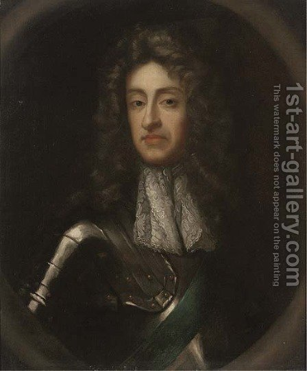 Portrait of James II (1633-1701), half-length, in armour, sculpted cartouche by (after) Kneller, Sir Godfrey - Reproduction Oil Painting