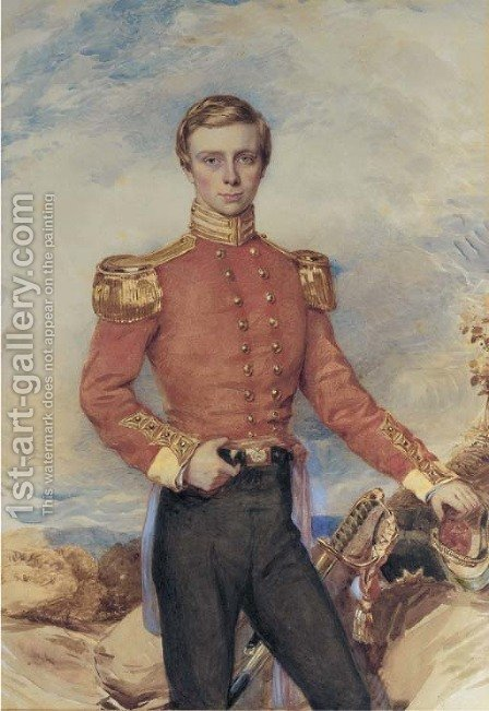 Portrait of an Infantry Officer, three-quarter-length, standing in a rugged landscape by (after) Hoppner, John - Reproduction Oil Painting