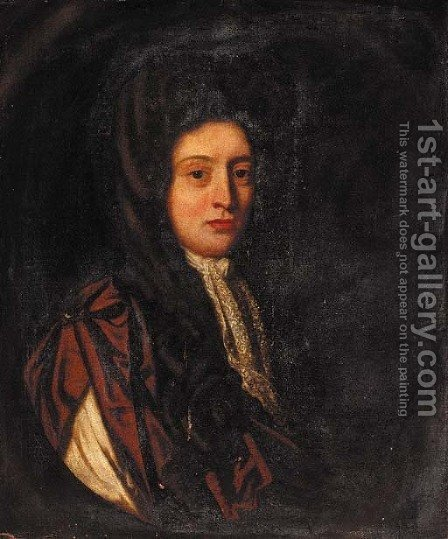 Portrait of a gentleman, half-length, wearing a brown cloak by (after) Sir Peter Lely - Reproduction Oil Painting