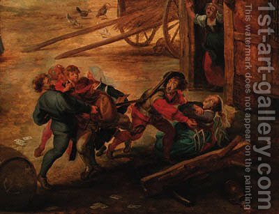 Peasants fighting in a farmyard by (after) Rubens, Peter Paul - Reproduction Oil Painting