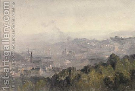 A panorama of Edinburgh by (after) Telemaco Signorini - Reproduction Oil Painting
