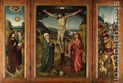Central panel The Crucifixion with the Virgin and Saint John the Evangelist by (after) The Master Of Frankfurt - Reproduction Oil Painting
