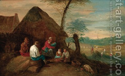 Harvesters resting by a cottage by (after) Theobald Michau - Reproduction Oil Painting