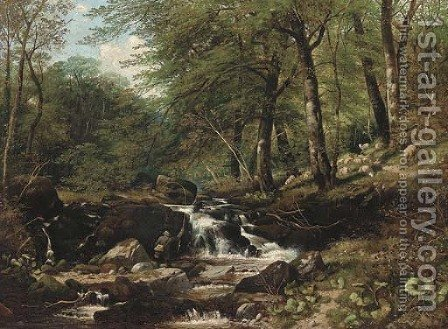 An angler in a wooded landscape by (after) Thomas Creswick - Reproduction Oil Painting