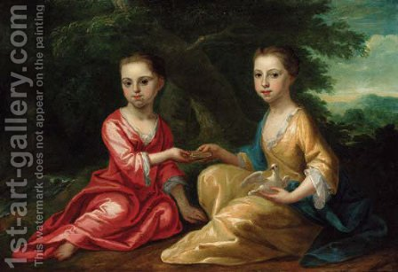 Portrait of two children by (after) Thomas Frye - Reproduction Oil Painting