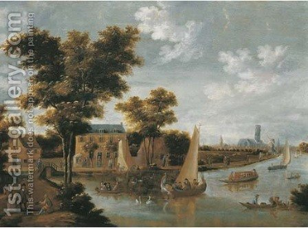 A view of the Zwaenseiland and the river Zwaenhals, Rotterdam, the St. Laurenskerk beyond by (after) Thomas Heeremans - Reproduction Oil Painting