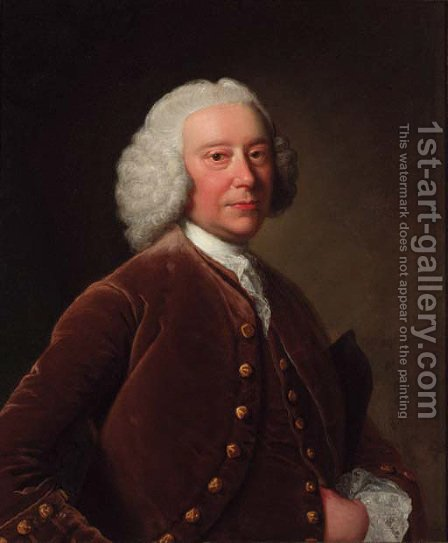 Portrait of a gentleman, half-length, in a brown coat and waistcoat, a tricorn under his arm by (after) Thomas Hudson - Reproduction Oil Painting