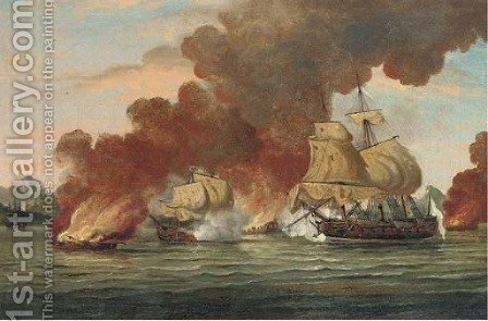 An Anglo-French engagement during the American War of Independence, probably in the West Indies by (after) Thomas Luny - Reproduction Oil Painting