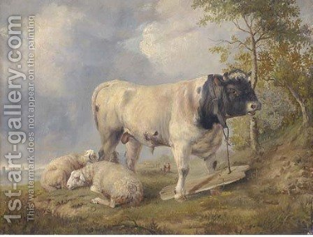 Sheep and a bull in a river landscape by (after) Thomas Sidney Cooper - Reproduction Oil Painting