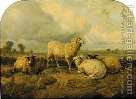 Sheep in a meadow by (after) Thomas Sidney Cooper - Reproduction Oil Painting