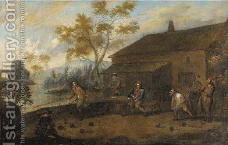 Skittle players by a house by (after) Thomas Van Apshoven - Reproduction Oil Painting