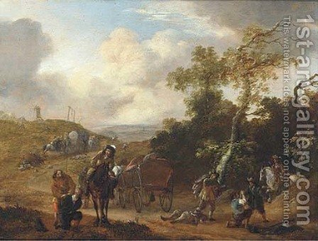 A wooded landscape with travellers ambushed on a country road by (after) Thomas Wijck - Reproduction Oil Painting