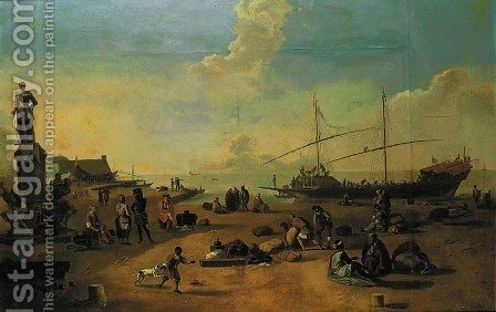 A capriccio of a Mediterranean quay with merchants, slaves, a galley and the monument of the Four Moors at Leghorn by (after) Thomas Wyck - Reproduction Oil Painting