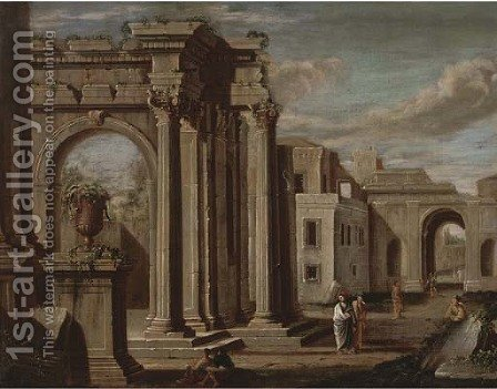 A capriccio of classical buildings with figures in the foreground by (after) Viviano Codazzi - Reproduction Oil Painting