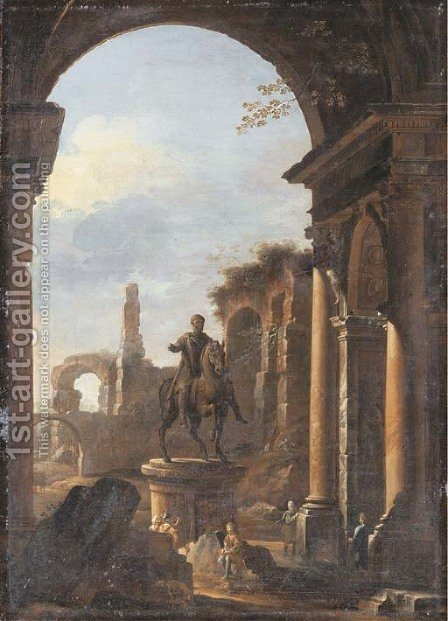 A capriccio of Roman ruins with peasants amongst ruins by the equestrian statue of Marcus Aurelius by (after) Viviano Codazzi - Reproduction Oil Painting